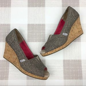 Toms Cork Wedge Peep Toe Brown Tweed Heels Sz 8.5